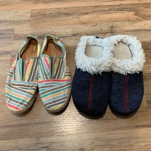 Shoe bundle. Tom's striped espadrilles + Slippers